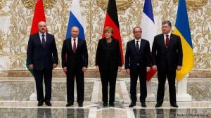 Президенты Лукашенко, Путин, канцлер Меркель и президенты Олланд и Порошенко