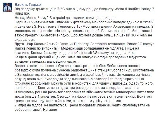 Facebook Василия Гацько