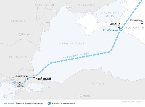 «Газпром» получил разрешение отТурции наработы подвум ниткам «Турецкого потока»