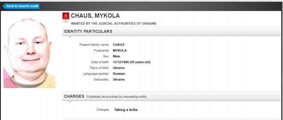 Картинки по запросу Интерпол объявил в розыск беглого украинского судью Чауса