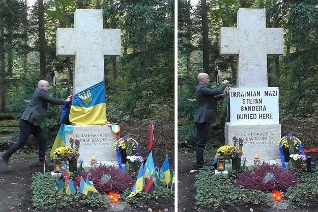 Прокремлевский пропагандист Грэм Филлипс сорвал флаги с могилы лидера ОУН Степана Бандеры