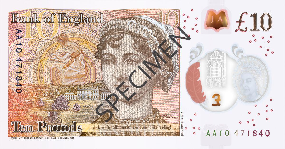 Банк Британии представил новейшую банкноту спортретом писательницы Джейн Остин