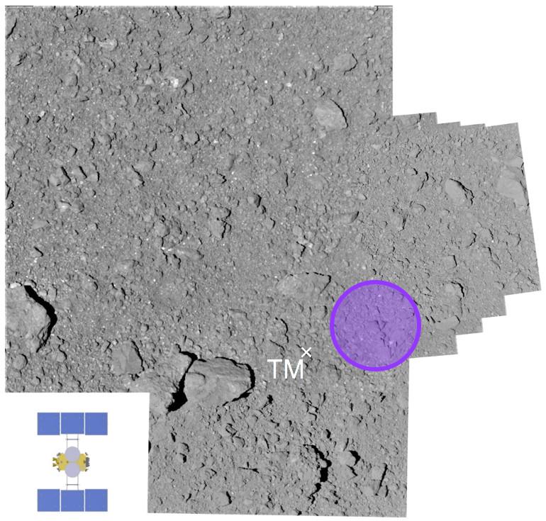 Место сбора образцов грунта. Хаябуса-2 показан в масштабе снимка. Image credit: JAXA