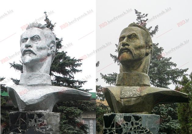 ВБердянске бюст Дзержинского превратили вбюст Кривоноса