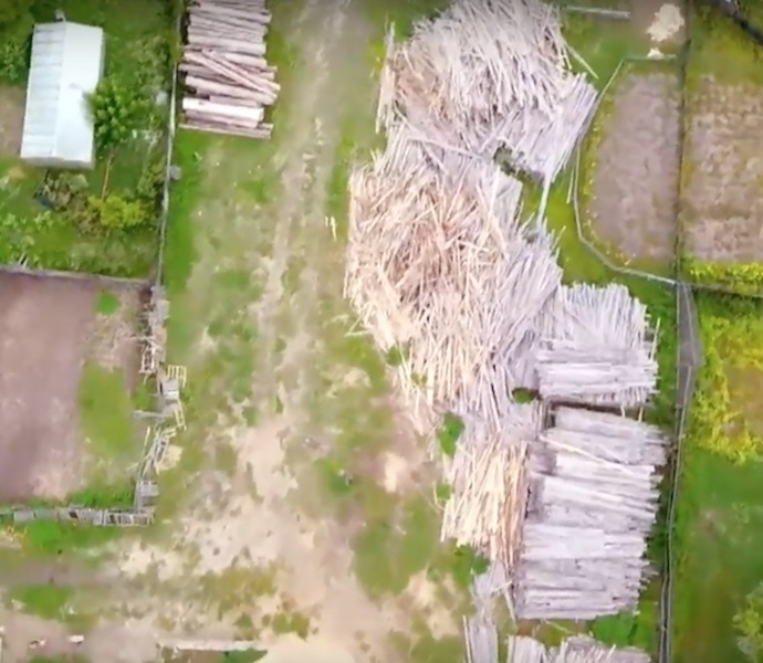 Склад древесины на участке мастера по лесозаготовкам Школьного Виталия