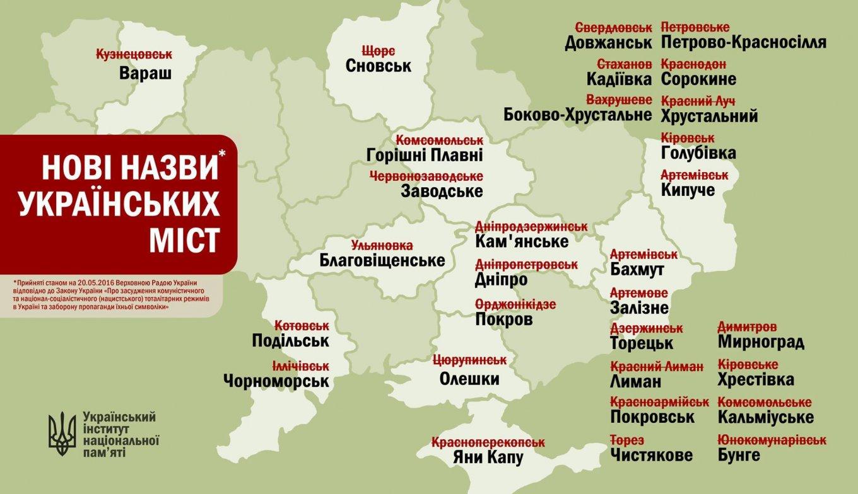 Названия украинских городов после декоммунизации