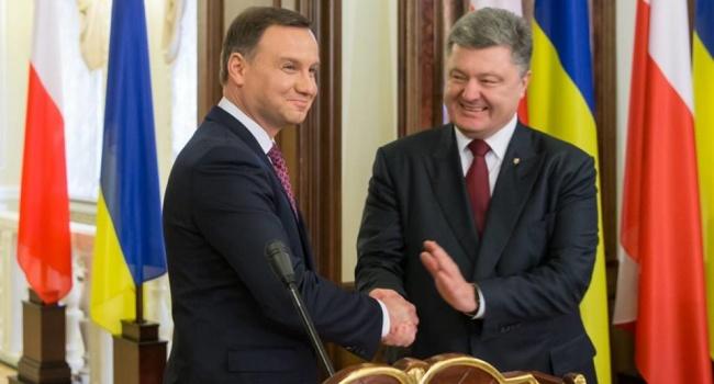 Президенты Польши и Украины Анджей Дуда и Петр Порошенко