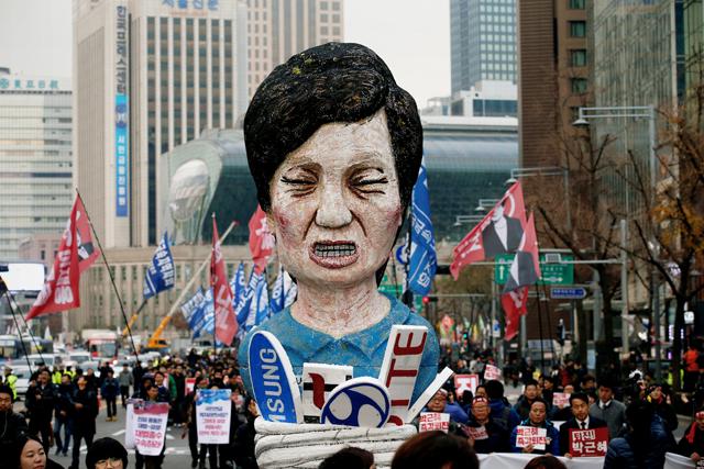 Демонстрация против президента Республики Корея Пак Кын Хе