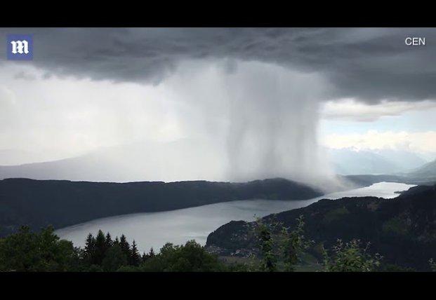 Цунами с небес: невероятные кадры дождя в Альпах (видео)